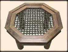 Shisham Wood Octagonal Table with Iron Grill Base for a Glass Top