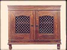 Shisham Wood Cabinet with Iron Grill Door